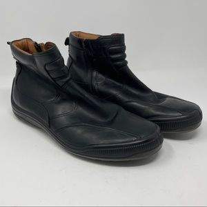 GEOX Respira Men's 44 (Size 11) Black Leather Ankle Boots Zippered Amphibiox